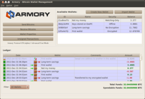 Armory Bitcoin Client wlallet pc